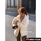 白鴨絨連帽加厚羽絨服女短款面包服冬季保暖羽絨外套【探索者戶外】