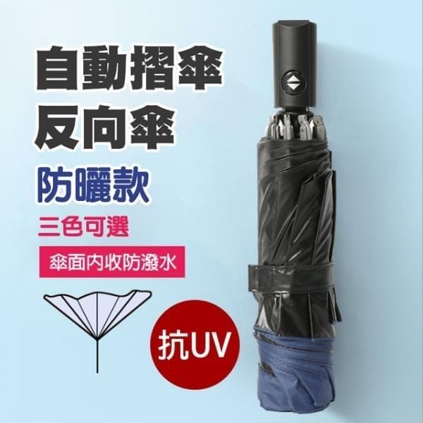 【南紡購物中心】職人手作一鍵開收摺疊反向傘/晴雨傘/自動陽傘S2_黑膠防曬款