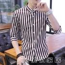 襯衫 夏裝潮男士豎條紋短袖襯衫純棉商務七分袖襯衣韓版修身中袖薄7寸 17俏俏