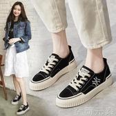 帆布鞋女年春季新款ulzzang百搭黑色鞋子平底小白鞋夏季板鞋 至簡元素