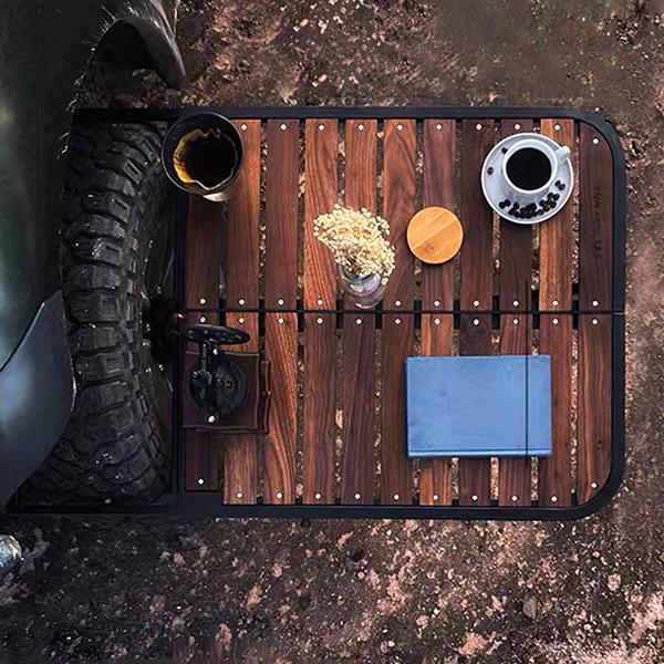 制吉 Tire Table戶外黑胡桃實木輪胎桌外掛式速搭露營桌4X4越野車吉普車專用.輪胎邊桌 露營胎邊桌