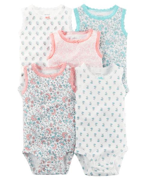 【美國Carter's】無袖包屁衣5件組-蕾絲花卉系列126G603