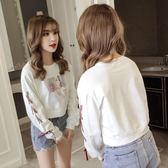 連帽T恤-高腰連帽T恤女秋裝新款韓版學生寬鬆百搭綁帶印花小個子短款上衣 依夏嚴選