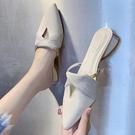 穆勒鞋 懶人半拖鞋女夏正韓百搭包頭V口時尚外穿粗跟尖頭穆勒鞋-Ballet朵朵