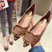 歐美風時尚春夏季新款女鞋子大碼金屬扣淺口尖頭平跟平底單鞋 夢想生活家