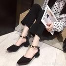 包頭涼鞋女2020春夏新款韓版時尚中跟粗跟尖頭休閒單鞋氣質女鞋子 618購物節