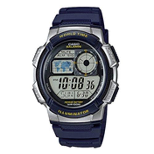 【CASIO 卡西歐】環遊世界地圖數位電子錶-藍(AE-100W-2AVSDF)