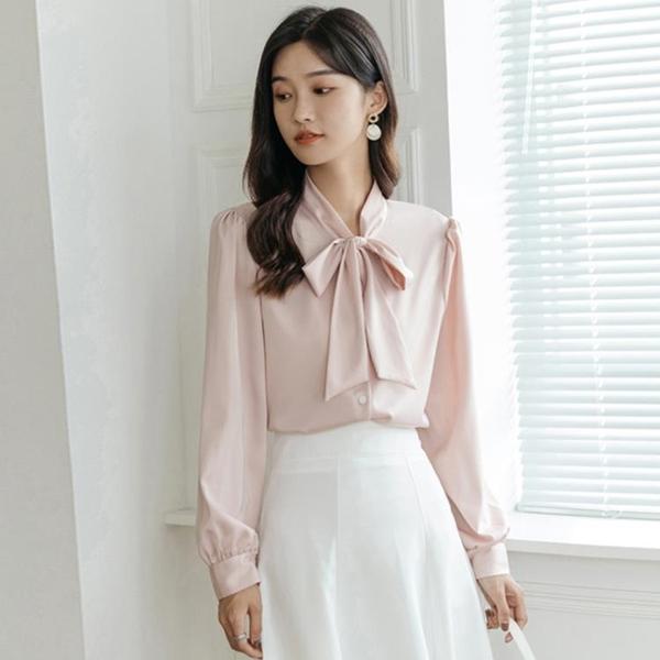 白襯衫女士2021年新款早春季設計感小眾襯衣長袖復古蝴蝶結夏上衣