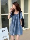 牛仔裙女夏季法式少女方領泡泡短袖設計感小眾復古港味chic連衣裙「時尚彩紅屋」