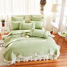 涼被雙人床罩組 公主風床罩 桃花 綠色 ...