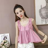 [gogo購]棉麻背心襯衫顯瘦上衣娃娃衫3色