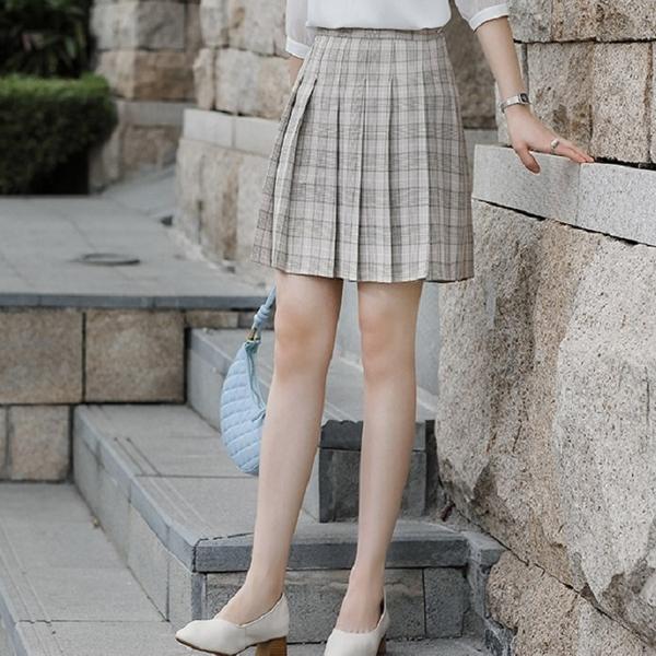 俏麗格紋迷你壓褶短裙 [21X063-PF]美之札
