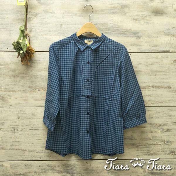 【Tiara Tiara】百貨同步aw 細格紋排釦半袖純棉長短版襯衫(藍/咖啡)