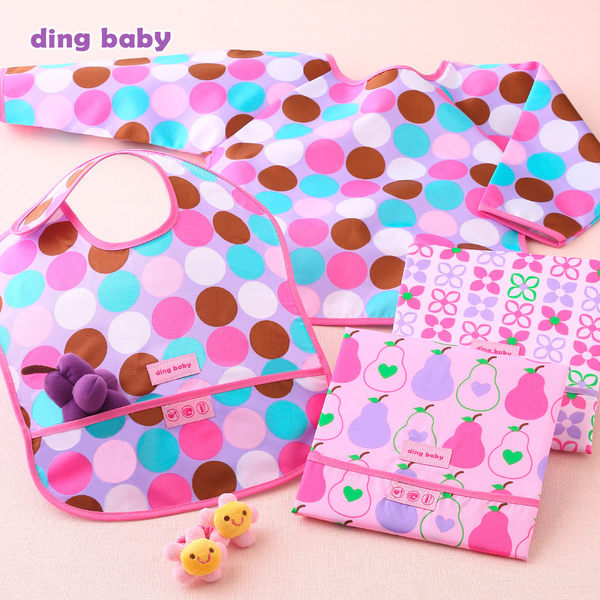 ding baby 防水圍兜3+1件組-女圓點 B-928187-00-FF