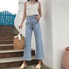 [超豐國際]三粒扣顯瘦高腰喇叭褲直筒長褲夏季薄款女寬松復古闊1入