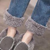 日韓加絨寬鬆高腰羊羔毛翻邊九分單寧牛仔褲女秋冬學生直筒褲