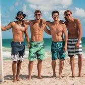 雙11狂歡寬鬆速干沙灘褲男平角大碼游泳褲海邊度假套裝印花五分短褲衩夏季   初見居家