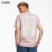 男裝短袖T恤夏季新款刺繡背後印花圖案情侶體恤 潮流衣舍