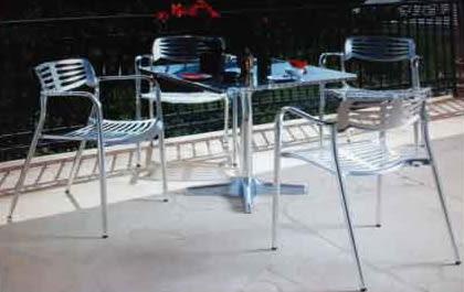 【南洋風休閒傢俱】戶外休閒椅系列-排骨椅(鋁)+80cm鋁桌  戶外休閒鋁合金餐桌椅 (537-2)