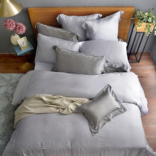 法國CASA BELLE《皇室香緹》特大天絲刺繡四件式防蹣抗菌吸濕排汗兩用被床包組 銀色