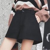 (快出)休閒短褲短褲女冬新款寬管褲寬鬆高腰A字黑休閒外穿打底靴褲春潮