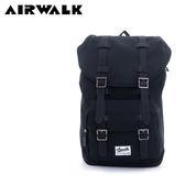 【橘子包包館】AIRWALK 水洗帆布雙扣蓋束口後背包 A635322120 黑色