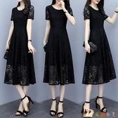 大碼蕾絲洋裝 胖女人黑色長裙2020夏新款女裝連身裙 BT24068【花貓女王】