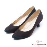 CUMAR 閃耀夜宴- 鑽石般閃耀晚宴杏型高跟鞋(酒紅色)