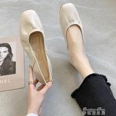豆豆鞋網紅單鞋女 夏款淺口平底百搭溫柔晚晚豆豆蛋捲奶奶鞋女芭蕾鞋(快速出貨)