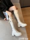 長筒靴 英倫風馬丁靴白色厚底2021春秋新款ins網紅瘦瘦靴時尚高筒長靴潮 智慧
