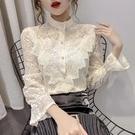 限時特價 秋冬新款時尚蕾絲打底衫立領雪紡衫修身顯瘦百搭長袖上衣女潮