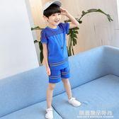 童裝男童套裝夏裝2018新款兒童短袖運動服中大童兩件套