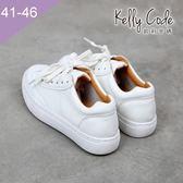 大尺碼女鞋-凱莉密碼-夏季百搭真皮小白鞋明星同款輕便綁帶休閒鞋2cm(41-46)【DAC2】白色