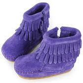 MINNETONKA 紫色雙層流蘇麂皮莫卡辛 嬰兒短靴(展示品)