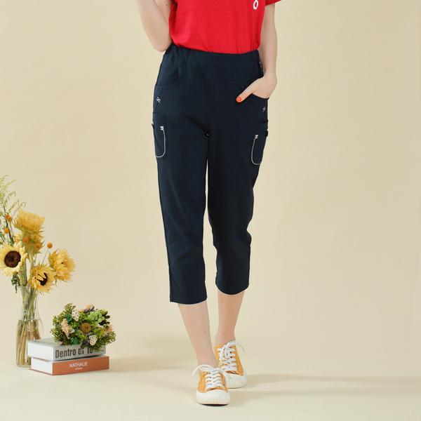 【中大尺碼】MIT繡線口袋造型薄布中褲