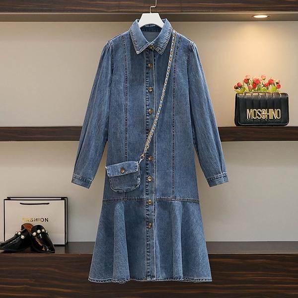 *ORead*中長款寬鬆顯瘦牛仔連身裙(藍色L~4XL)