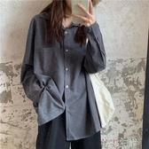 長袖襯衫復古襯衫女長袖秋季韓版寬鬆百搭學生休閒外套襯衣上衣 7月熱賣