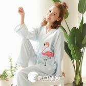 日系睡衣-清新和服系繩家居服套裝女純棉紗布開衫汗蒸服和風睡衣-奇幻樂園