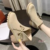 瘦瘦靴 甜美短靴女百搭2019新款秋冬季女鞋加絨中跟粗跟英倫風瘦瘦靴子潮35-39 3色