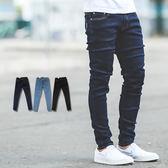 牛仔褲 亮色車線素面彈性窄管牛仔褲【NB0248J】