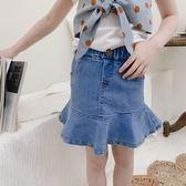 現貨 女童牛仔半身裙2019夏裝新款小女孩韓版時尚純色牛仔裙兒童裙子(8歲以上) 牛仔裙