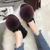 一腳蹬毛毛鞋女冬外穿棉鞋百搭加絨加厚鞋子2019新款毛茸茸豆豆鞋