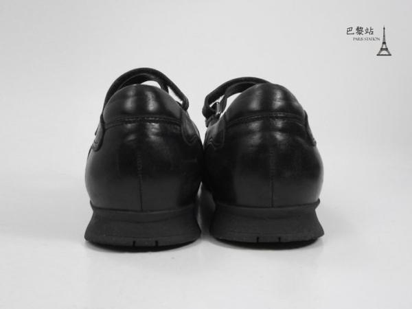 【巴黎站二手名牌專賣店】*現貨*PRADA 真品*黑色皮革菱格娃娃鞋 (37號)