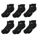 Nike 男女兒童6組脚踝運動襪(黑色)