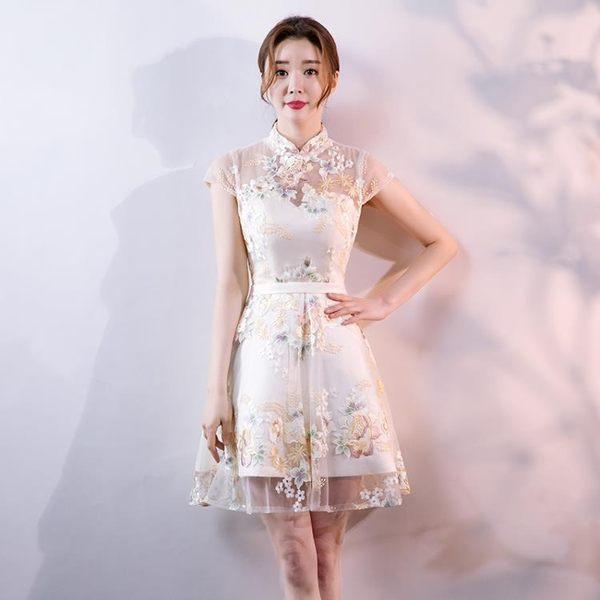 禮服裙女2018新款端莊旗袍宴會夏季短款洋裝小禮服名媛聚會連身裙