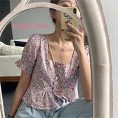 減齡方領燈籠袖心機俏皮短款襯衫上衣女春季韓版顯瘦修身短袖襯衣 居享優品