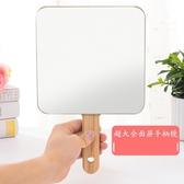 木質化妝鏡 超大木質手柄鏡高清化妝鏡手持手拿鏡牙科美容鏡紋繡專用木紋日式