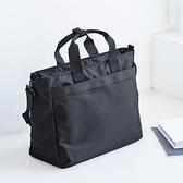 韓國原創手提尼龍公文包女商務大容量側背包旅行斜背手提包電腦包