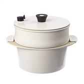 HOLA 陶瓷不沾導磁雙耳湯鍋3件組附矽膠隔熱套(含蒸隔)-白