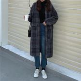 秋冬毛呢大衣女年新款韓版流行洋氣中長款過膝格子呢子外套潮 雅楓居